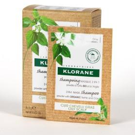 Klorane champu mascarilla 2 en 1 polvo a la ortiga y a la arcilla 8 sobres 3 g